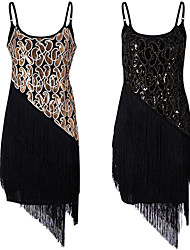 cheap -The Great Gatsby Tassel 1920s The Great Gatsby Roaring 20s Summer Flapper Dress Women's Girls' Costume Black / Golden Vintage Cosplay Homecoming