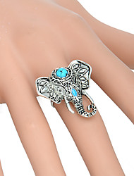 cheap -Women's Adjustable Ring 1pc Silver Acrylic Alloy Round Unusual Asian Unique Design Party Daily Jewelry Vintage Style Artisan Elephant Cool