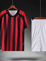 cheap -Men's Soccer Soccer Jersey and Shorts Clothing Suit Breathable Sweat-wicking Team Sports Active Training Football Stripes Polyester Adults Crimson
