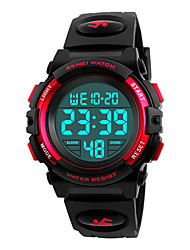 cheap -SKMEI Men's Digital Watch Digital Casual Water Resistant / Waterproof Silicone Black Digital - Golden Black Red / Calendar / date / day / Stopwatch / Noctilucent