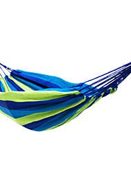 Недорогие -Туристический гамак На открытом воздухе Эластичный Складной холст для 1 человек Походы Командные виды спорта В полоску - Зеленый Радужный 200*100 cm