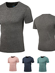 cheap -DZRZVD® Men's Hiking Tee shirt Short Sleeve Outdoor Breathable Quick Dry Moisture Wicking Fast Dry Tee / T-shirt Top Spring Summer Nylon Elastane Crew Neck Running Camping / Hiking Exercise & Fitness