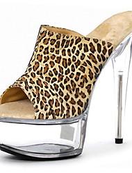 cheap -Women's PU(Polyurethane) Spring &  Fall Sweet / Minimalism Sandals Stiletto Heel Round Toe Black / White / Leopard / White / Yellow / Party & Evening