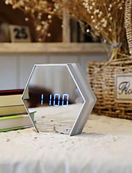 Недорогие -новинка освещение креативное зеркало для макияжа с будильником, термометр, 5 Вт, перезаряжаемые светящиеся цифровые лампы ночника