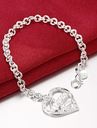 cheap -Chain Bracelet Love Unique Design Party Fashion Brass Bracelet Jewelry Silver For Party Gift Valentine / Cubic Zirconia