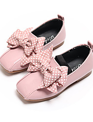 cheap -Girls' Flower Girl Shoes Leather Flats Toddler(9m-4ys) / Little Kids(4-7ys) / Big Kids(7years +) Bowknot Black / Beige / Pink Fall / Spring & Summer / Square Toe
