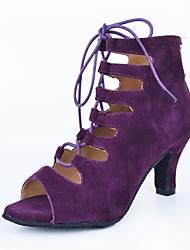 cheap -Women's Dance Shoes Suede Latin Shoes Splicing Boots Cuban Heel Customizable Purple / Performance / Leather