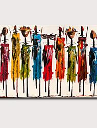 Недорогие -Hang-роспись маслом Ручная роспись - Абстракция Люди Классика Modern Без внутренней части рамки