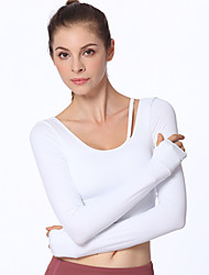 cheap -Women's Yoga Top Padded Tank Top Winter Open Back Removable Pad Solid Color Black White Light Green Orange Spandex Elastane Yoga Fitness Gym Workout Tee / T-shirt Sweatshirt Top Long Sleeve Sport