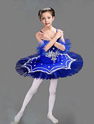 cheap -Kids' Dancewear Ballet Dress Embroidery Split Joint Crystals / Rhinestones Girls' Training Performance Sleeveless Mesh Polyester