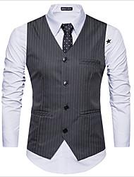 cheap -Men's Work Regular Vest, Striped V Neck Sleeveless Polyester White / Dark Gray / Black / Slim
