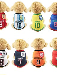cheap -Dog Vest Dog Clothes White Yellow Red Costume Mesh Color Block Stripes Letter & Number Casual / Sporty M L XL