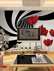 cheap -Wallpaper / Mural Canvas Wall Covering - Adhesive required Floral / Geometric / Art Deco