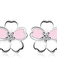cheap -Women's Stud Earrings Classic Flower Basic Romantic Imitation Diamond Earrings Jewelry Pink For Gift Daily 1 Pair