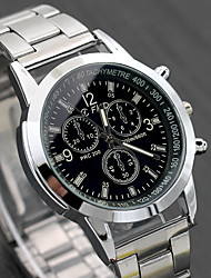 cheap -Men's Dress Watch Aviation Watch Quartz Stainless Steel Silver Casual Watch Analog Fashion Word Watch Gunmetal Watch - White Black One Year Battery Life