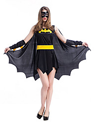 cheap -Bat Cosplay Costume Adults' Female Cosplay Halloween Halloween Carnival Masquerade Festival / Holiday Plush Fabric Satin Black Female Carnival Costumes Patchwork