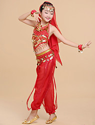 cheap -Indian Girl Bollywood Kid's Girls' Asian Sequins Belly Dance Costume For Halloween Performance Festival Chiffon Sequin Top Pants Headpiece