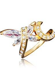 cheap -Women's Ring Cubic Zirconia 1pc Gold Silver 18K Gold Plated Imitation Diamond Stylish Luxury Romantic Party Engagement Jewelry Classic Dragonfly Lovely