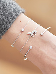 cheap -Women's Bracelet Layered Horse Simple European Trendy Rhinestone Bracelet Jewelry Gold / Silver For Daily Date