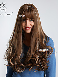cheap -Synthetic Wig Bouncy Curl Loose Wave With Bangs Wig Very Long Brown Synthetic Hair 30 inch Women's Synthetic Best Quality Ombre Hair Dark Brown BLONDE UNICORN / Natural Hairline / Natural Hairline