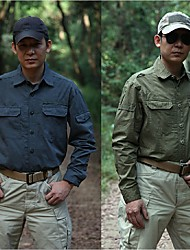 cheap -Men's Hiking Shirt / Button Down Shirts Long Sleeve Outdoor Lightweight Breathable Quick Dry Wear Resistance Shirt Top Autumn / Fall Spring Cotton Traveling Back Country Indoor Yellow Army Green Grey