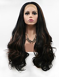 cheap -Synthetic Lace Front Wig Body Wave Loose Curl Layered Haircut Lace Front Wig Long Natural Black Synthetic Hair 24 inch Women's Women Black Brown Sylvia
