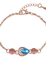 cheap -Women's Handmade Link Bracelet Classic Simple Romantic Fashion Cute Rhinestone Bracelet Jewelry Silver / Blue / Rose Gold For Daily Date Festival
