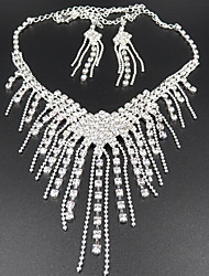 cheap -Jewelry Set Pendant Necklace Tassel Long Ladies Tassel Party Elegant Cubic Zirconia Imitation Diamond Earrings Jewelry White For