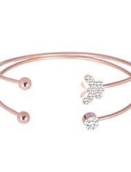 abordables -Manchettes Bracelets Femme Classique Strass unique Branché Coréen Bracelet Bijoux Argent Or Rose Champagne pour Quotidien Vacances