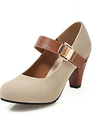 cheap -Women's Synthetics Spring & Summer Heels Chunky Heel Round Toe Beige / Brown / Blue / Wedding / Party & Evening