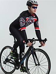 cheap -BOESTALK Men's Long Sleeve Cycling Jersey with Bib Tights White Black Skull Bone Bike Breathable Quick Dry Back Pocket Winter Sports Fleece Classic Mountain Bike MTB Road Bike Cycling Clothing Apparel