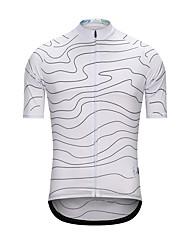 cheap -Fastcute Men's Short Sleeve Cycling Jersey Terylene White Stripes Bike Jersey Top Sports Clothing Apparel / High Elasticity