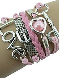 cheap -Women's Pink Wrap Bracelet Braided Heart Sweet Cord Bracelet Jewelry Pink For Wedding Ceremony