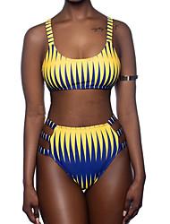 cheap -Women's Sporty Basic Boho Yellow Halter Thong Cheeky High Waist Tankini Swimwear - Color Block Rainbow Backless Racerback S M L Yellow