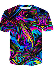 cheap -Men's T shirt Graphic Abstract Print Short Sleeve Daily Tops Blue Red Gold