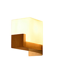 cheap -Wall Sconces Cube Shade Creative Wooden Sconce Fixture Nordic Square Glass Wall Lamp for Corridor Aisle