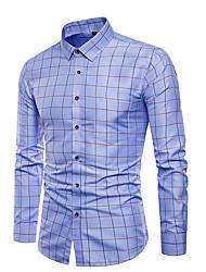 cheap -Men's Cotton Shirt - Check Blue