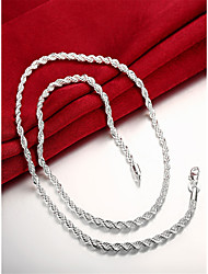 cheap -Men's Chain Necklace Classic Classic Fashion Copper Silver Plated Silver 55 cm Necklace Jewelry 1pc For Daily Work