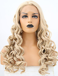 cheap -Synthetic Lace Front Wig Curly Middle Part Lace Front Wig Blonde Long Light golden Synthetic Hair 24 inch Women's Adjustable Heat Resistant Women Blonde