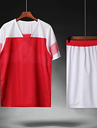 cheap -Men's Soccer Soccer Jersey and Shorts Clothing Suit Breathable Sweat-wicking Team Sports Active Training Football Stripes Polyester Adults Red Combo