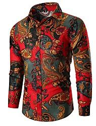 cheap -Men's Shirt - Floral Print Green