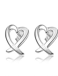 cheap -Women's Stud Earrings Earrings Heart Stylish Trendy Fashion Elegant Silver Plated Earrings Jewelry Silver For Birthday Engagement Gift Daily Date 1 Pair