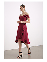 cheap -A-Line Straps Knee Length Chiffon Bridesmaid Dress with Split Front / Cascading Ruffles / Open Back