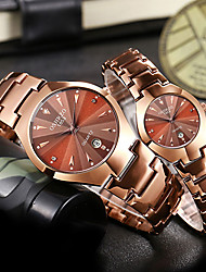 cheap -Couple's Dress Watch Quartz Matching His And Her Stainless Steel Black / Rose Gold 30 m Water Resistant / Waterproof Calendar / date / day Casual Watch Analog Vintage Casual - Black Rose Gold