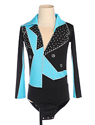 cheap -Figure Skating Top Men's Boys' Ice Skating Top Blue Patchwork Spandex Micro-elastic Competition Skating Wear Handmade Patchwork Classic Long Sleeve Ice Skating Figure Skating