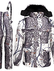 cheap -Men's Hunting Jacket with Pants Outdoor Fleece Lining Warm Anti-Wear Thick Fall Winter Camo Clothing Suit Cotton 100% Polyester Hunting Fishing Camping / Hiking / Caving Camouflage