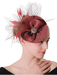 cheap -Women's Ladies Tiaras Fascinators For Wedding Party / Evening Prom Princess Feather Fabric Wine