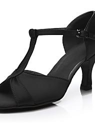 cheap -Women's Dance Shoes Satin Latin Shoes Heel Slim High Heel Customizable Silver / Fuchsia / Brown / Performance / Leather / Practice