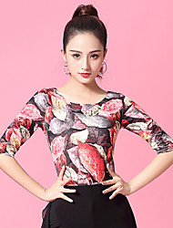 cheap -Ballroom Dance Top Pattern / Print Ruching Women's Performance Half Sleeve Ice Silk