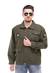 cheap -Men's Hiking Jacket Long Sleeve Outdoor Breathable Wear Resistance Multi Pocket Jacket Autumn / Fall Spring Cotton Camping / Hiking Back Country Indoor Army Green